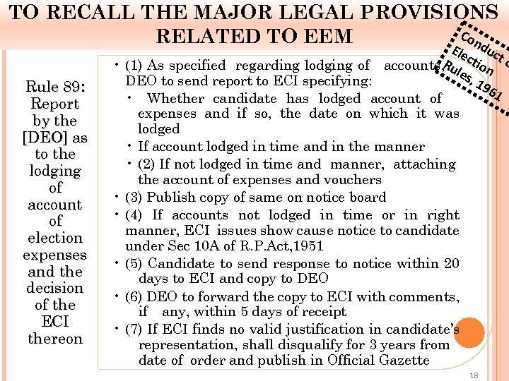 TO RECALL THE MAJOR LEGAL PROVISIONS Co RELATED TO EEM E nd Rule 89: