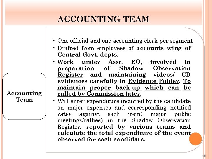ACCOUNTING TEAM Accounting Team • One official and one accounting clerk per segment •
