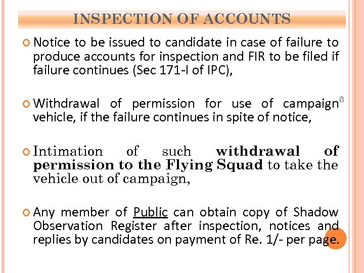 INSPECTION OF ACCOUNTS Notice to be issued to candidate in case of failure to
