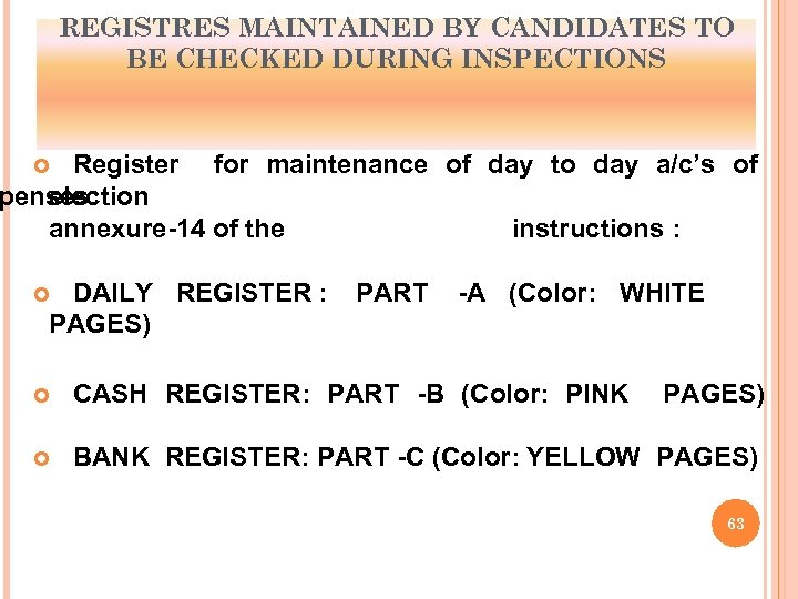 REGISTRES MAINTAINED BY CANDIDATES TO BE CHECKED DURING INSPECTIONS Register for maintenance of day