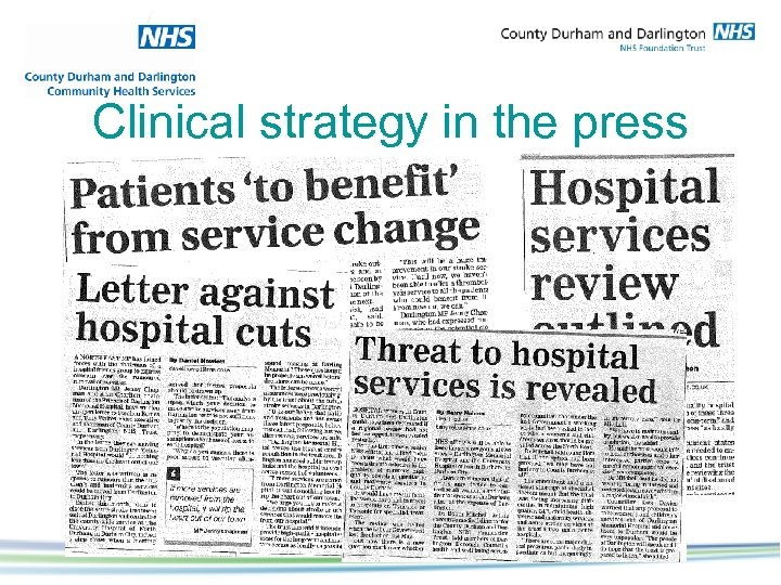 Clinical strategy in the press
