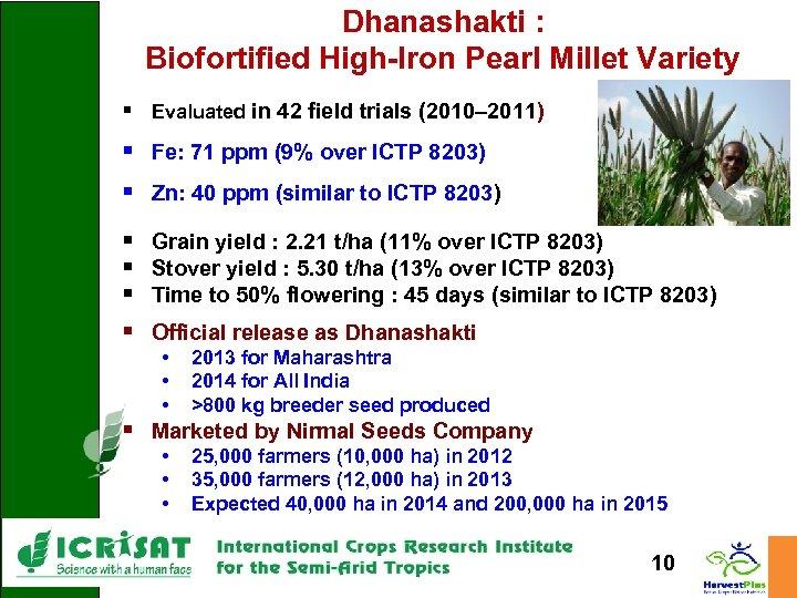 Dhanashakti : Biofortified High-Iron Pearl Millet Variety § Evaluated in 42 field trials (2010–