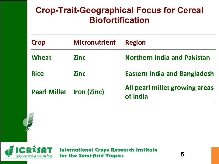 Crop-Trait-Geographical Focus for Cereal Biofortification Crop Micronutrient Region Wheat Zinc Northern India and Pakistan