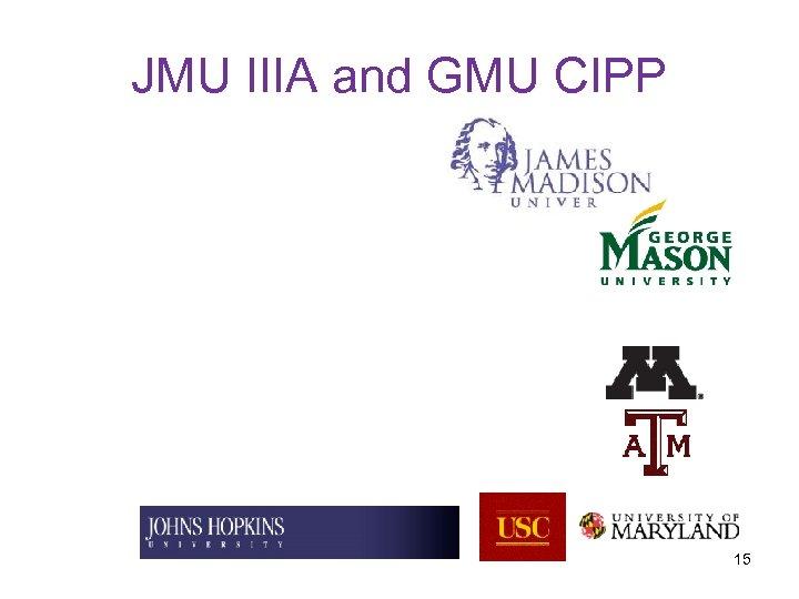 JMU IIIA and GMU CIPP 15