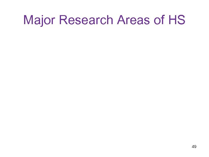 Major Research Areas of HS 49