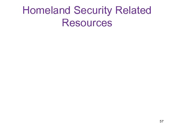 Homeland Security Related Resources 57
