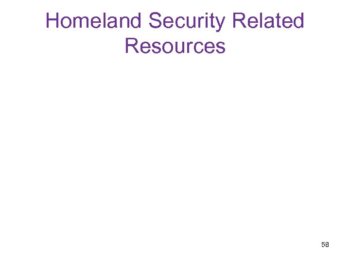 Homeland Security Related Resources 58