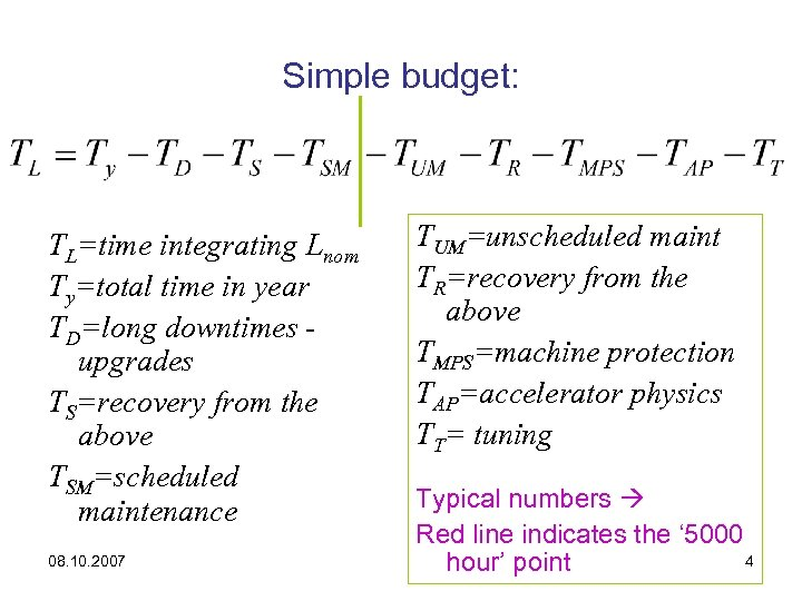 Simple budget: TL=time integrating Lnom Ty=total time in year TD=long downtimes upgrades TS=recovery from