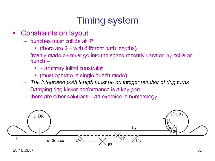 Timing system • Constraints on layout – bunches must collide at IP • (there
