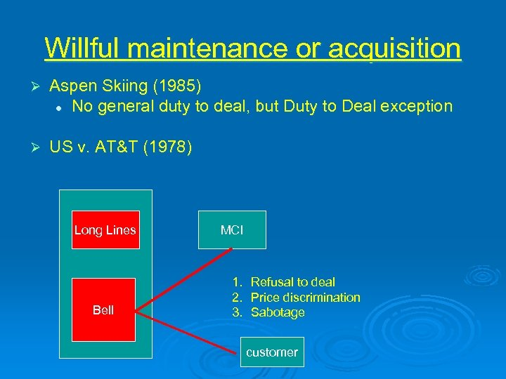 Willful maintenance or acquisition Ø Aspen Skiing (1985) l No general duty to deal,