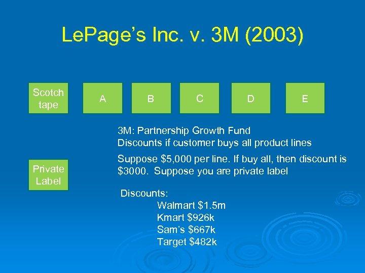 Le. Page's Inc. v. 3 M (2003) Scotch tape A B C D E