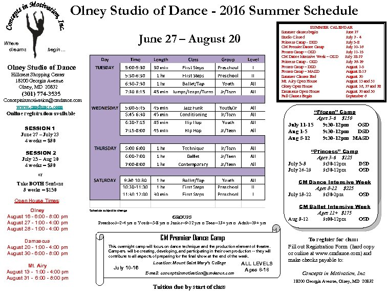 Olney Studio of Dance - 2016 Summer Schedule SUMMER CALENDAR Summer classes begin June