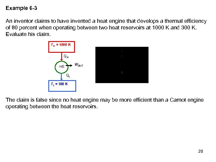 Example 6 -3 An inventor claims to have invented a heat engine that develops