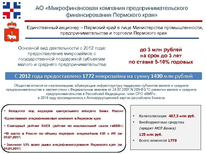 АО «Микрофинансовая компания предпринимательского финансирования Пермского края» Единственный акционер – Пермский край в лице