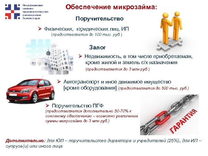 Обеспечение микрозайма: Поручительство Ø Физических, юридических лиц, ИП (предоставляется до 100 тыс. руб. )