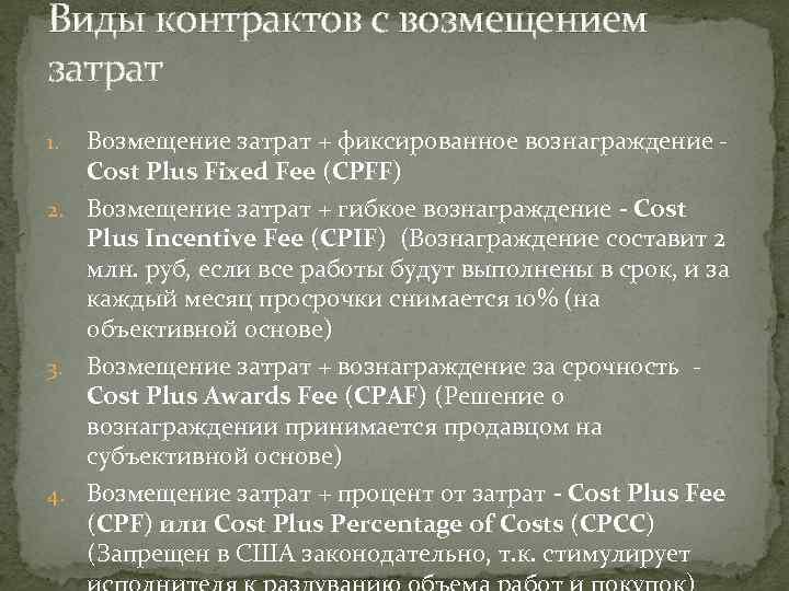 Виды контрактов с возмещением затрат Возмещение затрат + фиксированное вознаграждение - Cost Plus Fixed