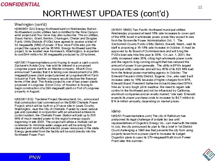 CONFIDENTIAL NORTHWEST UPDATES (cont'd) 11 Washington (cont'd) • (08/08/01 DJI) Energy Northwest said on