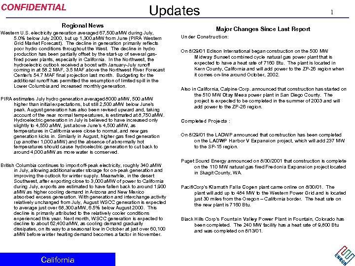 CONFIDENTIAL Updates Regional News Western U. S. electricity generation averaged 67, 500 a. MW