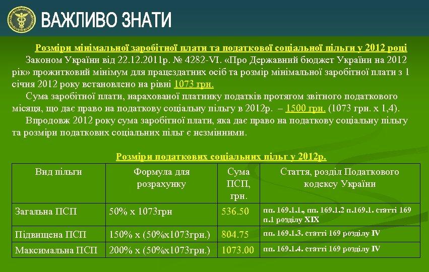 Розміри мінімальної заробітної плати та податкової соціальної пільги у 2012 році Законом України від