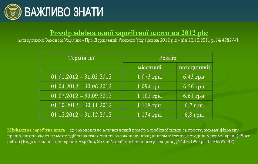 Розмір мінімальної заробітної плати на 2012 рік затверджено Законом України «Про Державний бюджет України