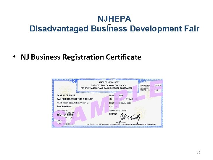 NJHEPA - Development Fair Disadvantaged Business • NJ Business Registration Certificate 12