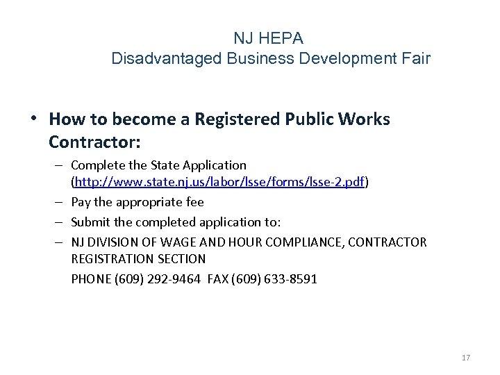 NJ HEPA Disadvantaged Business Development Fair • How to become a Registered Public