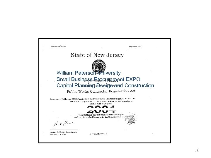 William Paterson University Small Business Procurement EXPO Capital Planning Design and Construction 18