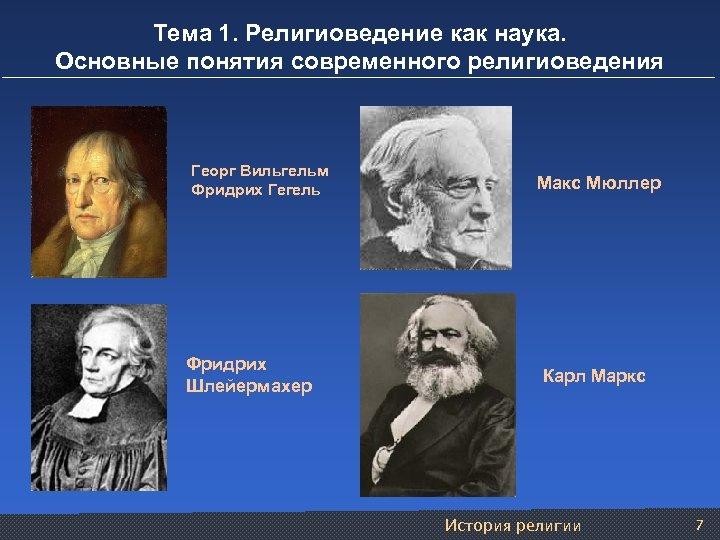 Тема 1. Религиоведение как наука. Основные понятия современного религиоведения Георг Вильгельм Фридрих Гегель Фридрих