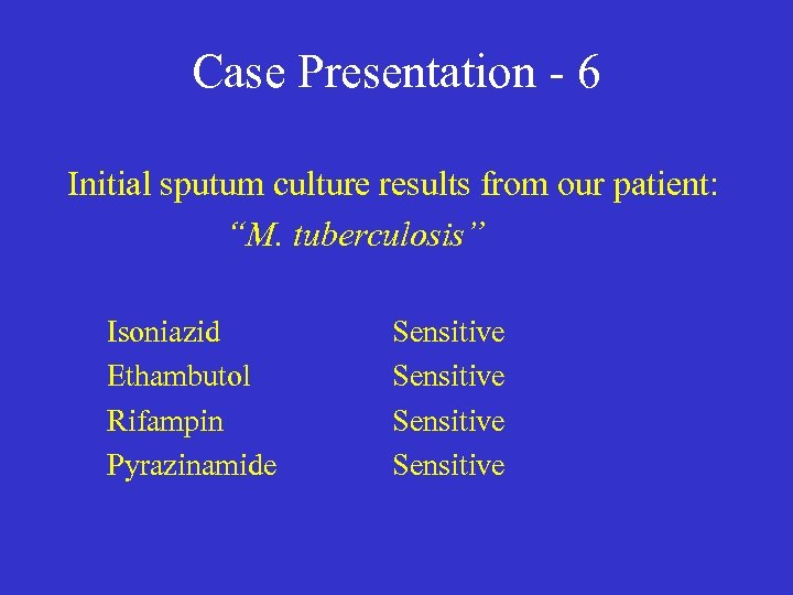 "Case Presentation - 6 Initial sputum culture results from our patient: ""M. tuberculosis"" Isoniazid"