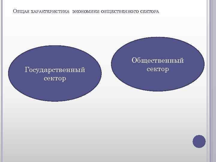 ОБЩАЯ ХАРАКТЕРИСТИКА ЭКОНОМИКИ ОБЩЕСТВЕННОГО СЕКТОРА Государственный сектор Общественный сектор