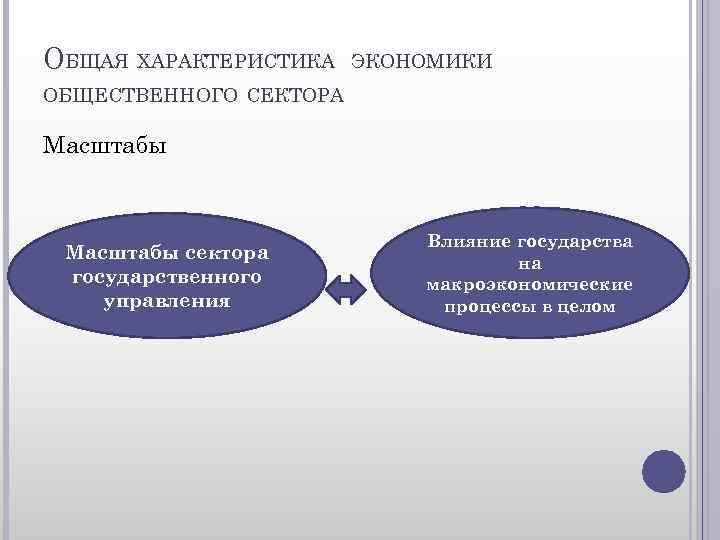 ОБЩАЯ ХАРАКТЕРИСТИКА ЭКОНОМИКИ ОБЩЕСТВЕННОГО СЕКТОРА Масштабы сектора государственного управления Влияние государства на макроэкономические процессы