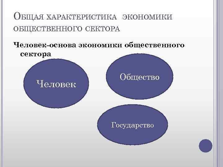 ОБЩАЯ ХАРАКТЕРИСТИКА ЭКОНОМИКИ ОБЩЕСТВЕННОГО СЕКТОРА Человек-основа экономики общественного сектора Человек Общество Государство