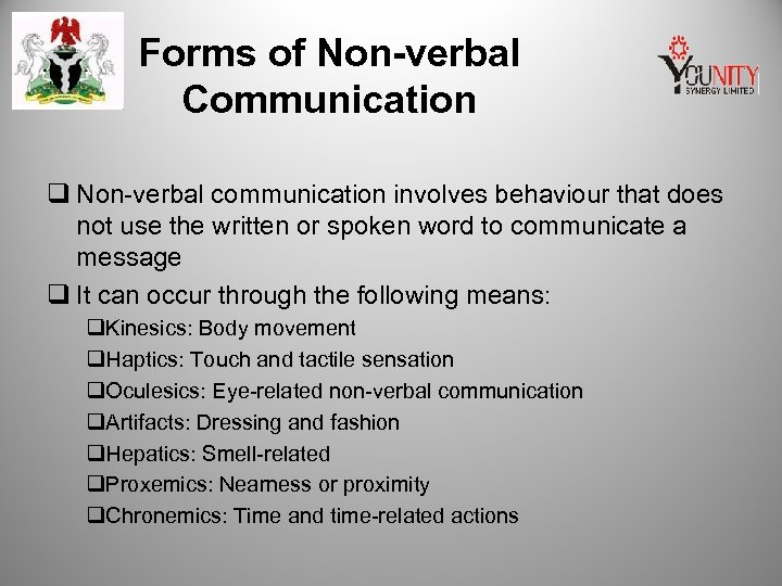 Forms of Non-verbal Communication q Non-verbal communication involves behaviour that does not use the