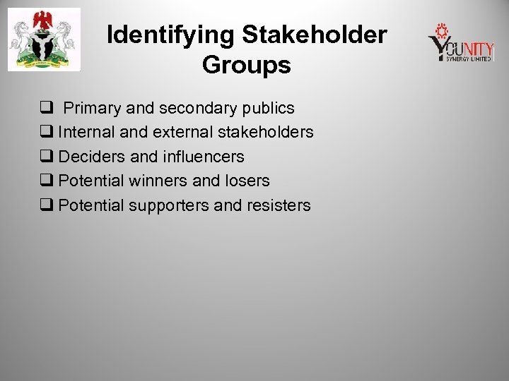 Identifying Stakeholder Groups q Primary and secondary publics q Internal and external stakeholders q