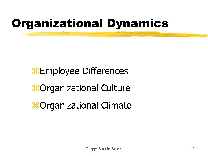 Organizational Dynamics z. Employee Differences z. Organizational Culture z. Organizational Climate Peggy Simcic Brønn