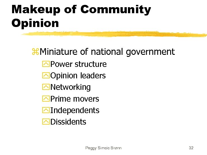 Makeup of Community Opinion z. Miniature of national government y. Power structure y. Opinion