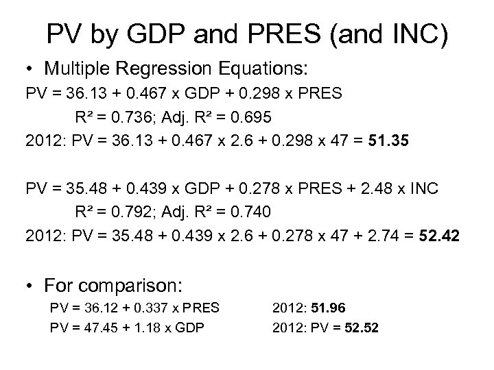 PV by GDP and PRES (and INC) • Multiple Regression Equations: PV = 36.