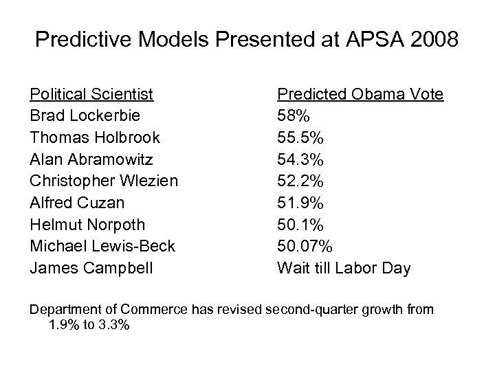 Predictive Models Presented at APSA 2008 Political Scientist Brad Lockerbie Thomas Holbrook Alan Abramowitz