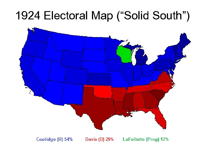"""1924 Electoral Map (""""Solid South"""")"""