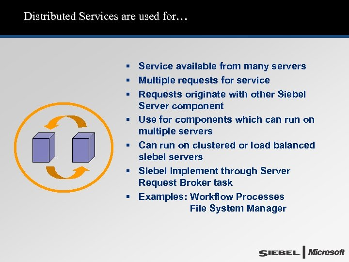 Distributed Services are used for… § Service available from many servers § Multiple requests