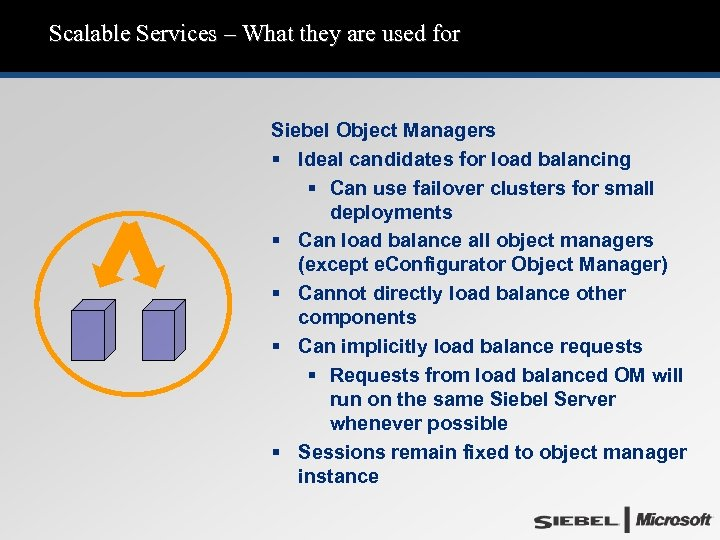 Scalable Services – What they are used for Siebel Object Managers § Ideal candidates
