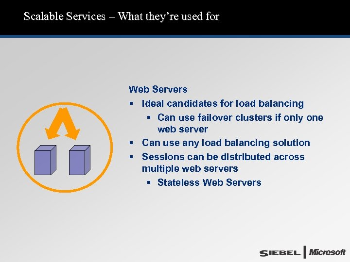 Scalable Services – What they're used for Web Servers § Ideal candidates for load