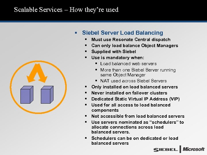 Scalable Services – How they're used § Siebel Server Load Balancing § § §