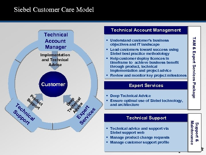 Siebel Customer Care Model Technical Account Management § Understand customer's business objectives and IT