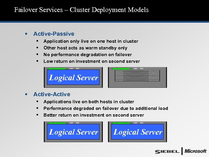 Failover Services – Cluster Deployment Models § Active-Passive § § Application only live on