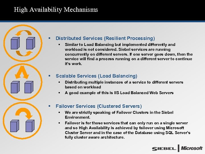 High Availability Mechanisms § Distributed Services (Resilient Processing) § § Scalable Services (Load Balancing)
