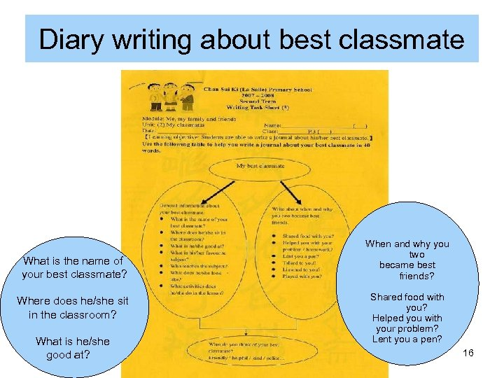 Diary writing about best classmate What is the name of your best classmate? Where