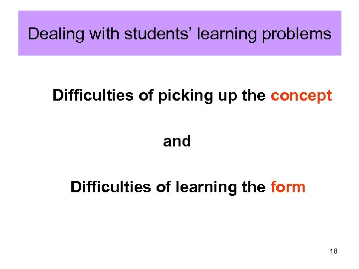 Dealing with students' learning problems Difficulties of picking up the concept and Difficulties of