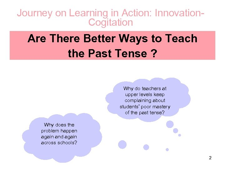 Journey on Learning in Action: Innovation. Cogitation Are There Better Ways to Teach the