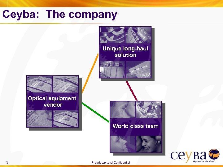 Ceyba: The company Unique long-haul solution Optical equipment vendor World class team 3 Proprietary